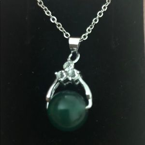 """Jade and White Topaz Necklace 18"""" to 16"""" Chain 🎁"""